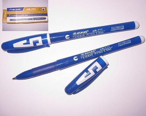 Ручка гелевая корпус синий с буквой СИНЯЯ ASMAR AR-777 (12шт/уп)(144шт/уп)(1152ш