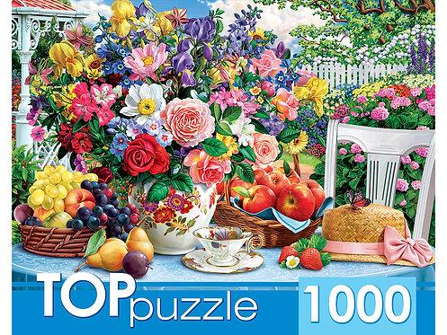 TOPpuzzle. ПАЗЛЫ 1000 элементов. ХТП1000-2174 Летний натюрморт и шляпа