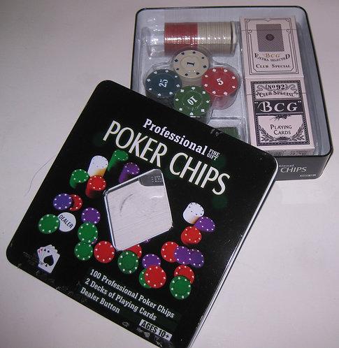 """Набор подарочный """"Poker Chips"""" СРЕДНИЙ квадратный 2колоды+101фишка 1002 в металл"""