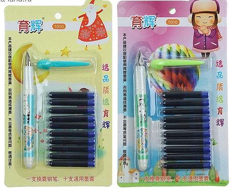 Набор ручка перьевая+10картриджей CALLIGRATA 1515718 на планшете