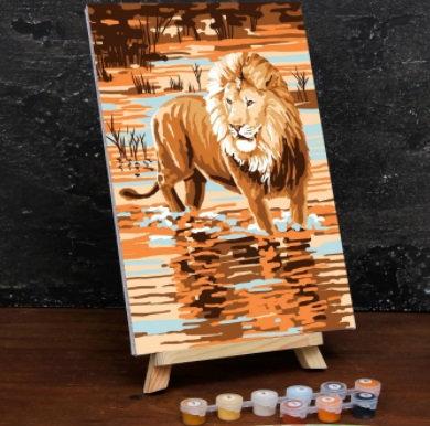 Картина по номерам на холсте с подрамником «Царь зверей» 20×30 см