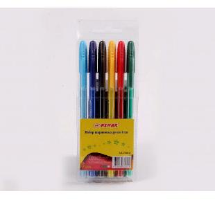 Набор шариковых ручек 6цв корпус цветной в полоску ASMAR AR-2296-6/WX-563-6 в пл