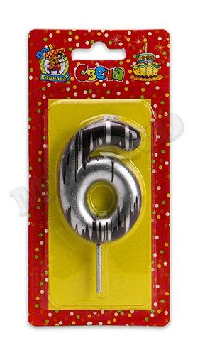 """Свечи для торта """"№6"""" в полоску золото/серебро КАРНАВАЛИЯ С-2505 на планшете"""