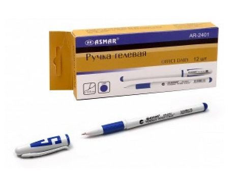 Ручка гелевая белый корпус с буквой СИНЯЯ ASMAR/MAZARI AR-2401/5505С-70 (12шт/уп
