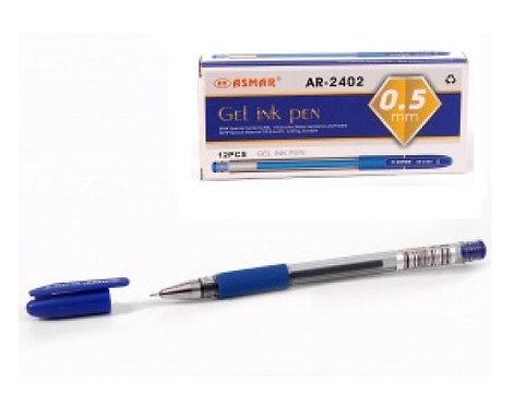 Ручка гелевая резиновый держатель игольчатый стержень СИНЯЯ ASMAR AR-2402 (12шт/