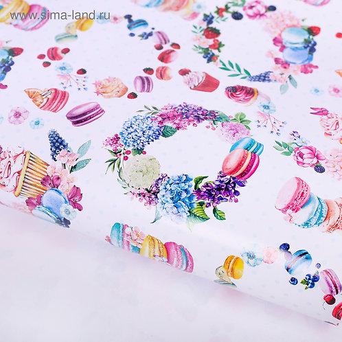 Бумага упаковочная глянцевая «Цветочный венок», 70 × 100 см