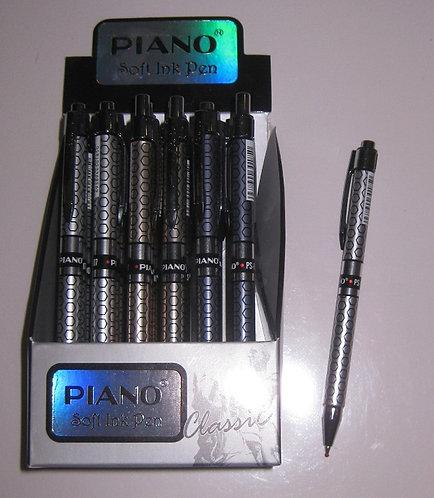 Ручка автомат корпус серебристый с рисунком СИНЯЯ PIANO PS-007 (24шт/уп)
