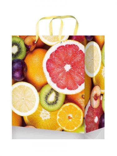 Optima Пакет подарочный с глянцевой ламинацией 18x23x8 см  (M) Яркие фрукты, 128