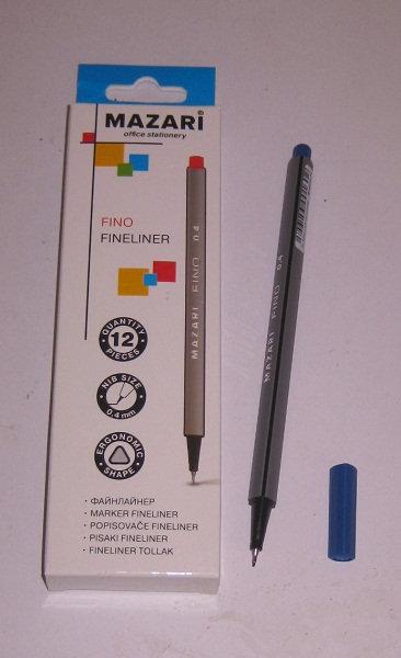 """Ручка капилярная 0,4мм """"Fino"""" корпус трехгранный СИНЯЯ MAZARI M-5300-70 (12шт/уп"""