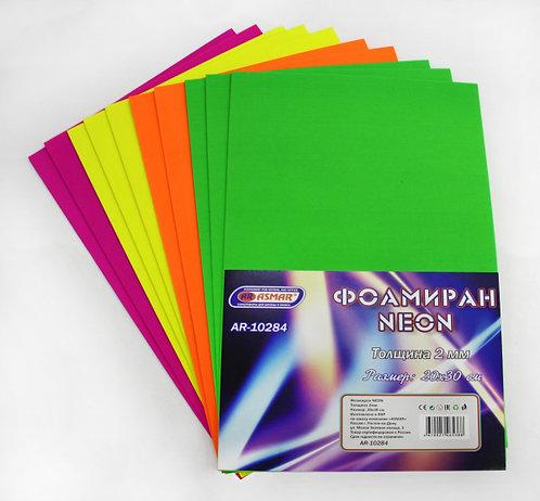 Набор бумаги EVA(Фоамиран) А4 10л 5цв 2мм цвета неоновые ASMAR AR-10284 в кульке