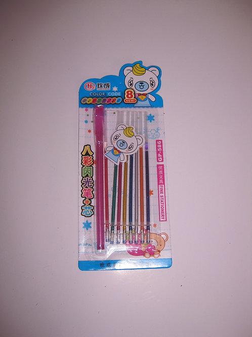 Набор гелевая ручка+8стержней МЕТАЛЛИК GP-586/1501200 на планшете