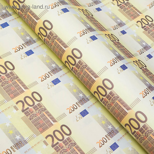 "Бумага упаковочная ""200 евро"", 50 х 70 см 4856842"