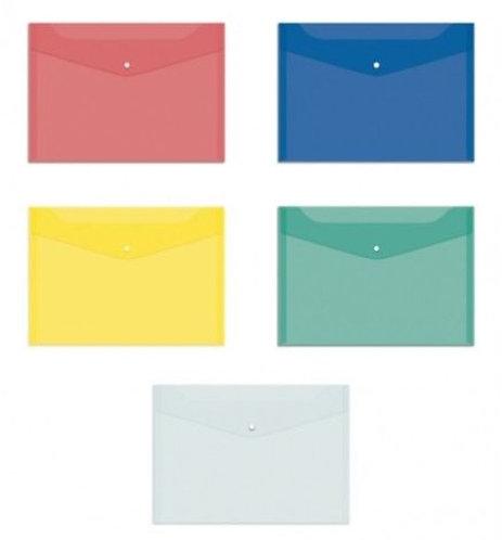 Папка-конверт на кнопке ПЛАСТИК А4 150мкм однотонная цветная OFFICESPACE FMK12 (