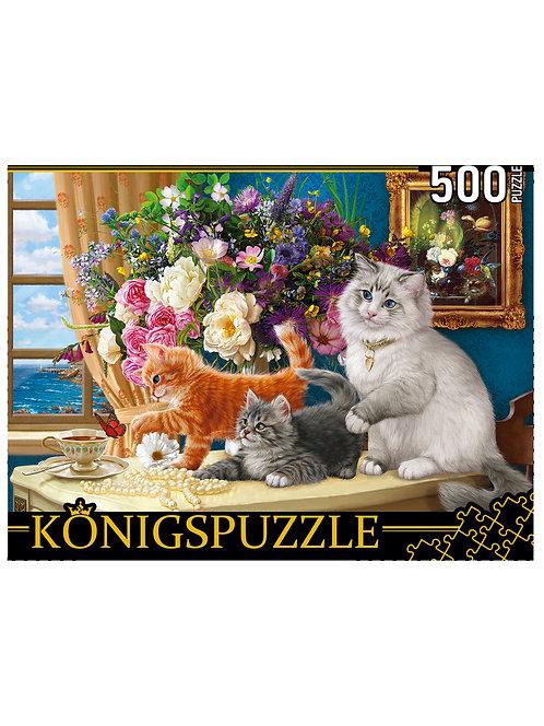 Konigspuzzle. ПАЗЛЫ 500 элементов. ХK500-3573 КОТЯТА И БУКЕТ