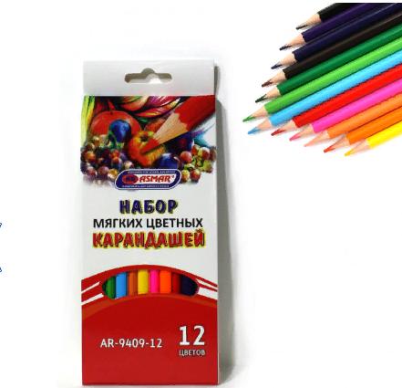 Карандаши цветные 12цв трехгранные 4М ДЕРВО супермягкие ASMAR AR-9409-12 в карто
