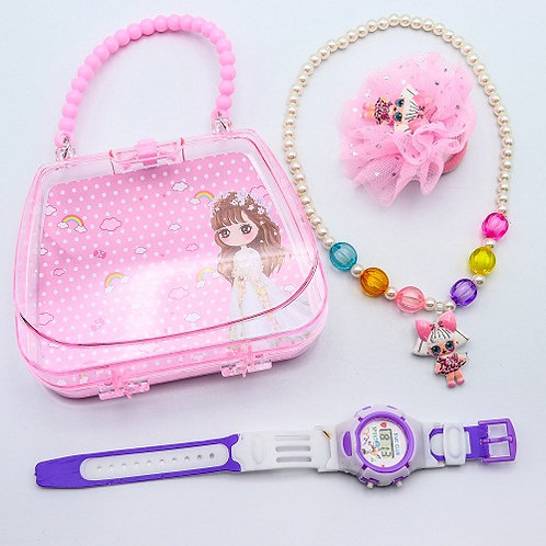 Набор для девочек браслет+часы+резинка CL-000802 в пластиковой сумочке