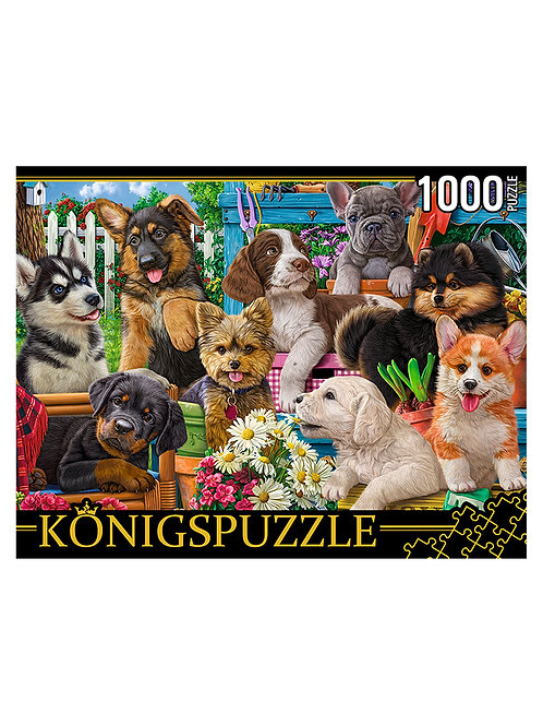 Konigspuzzle. ПАЗЛЫ 1000 элементов. ФK1000-3589 СОБАЧКИ В САДУ