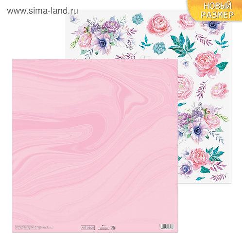 Бумага для скрапбукинга «Цветочная мечта», 30.5 × 30.5 см, 180 г/м
