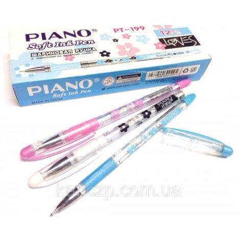 Ручка шариковая корпус цветной прозрачный СИНЯЯ PIANO PB-121 (12шт/уп)
