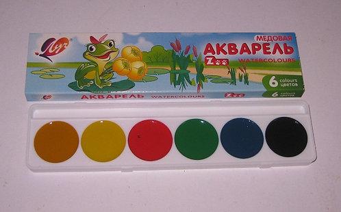 """Краски акварельный 6цв """"Zoo"""" без кисти ЛУЧ 19C1246-08 в картонной упаковке (64шт"""
