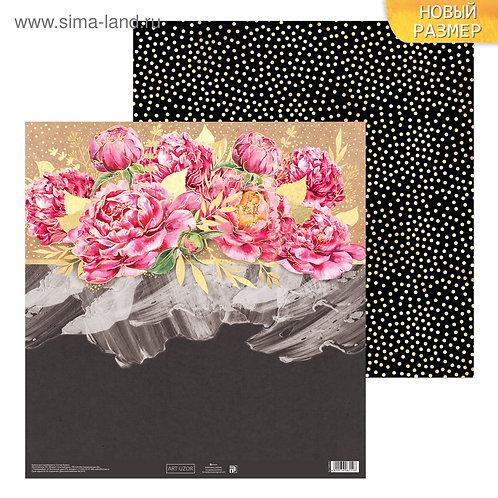 Бумага для скрапбукинга «Пионы», 30.5 × 30.5 см, 180 г/м