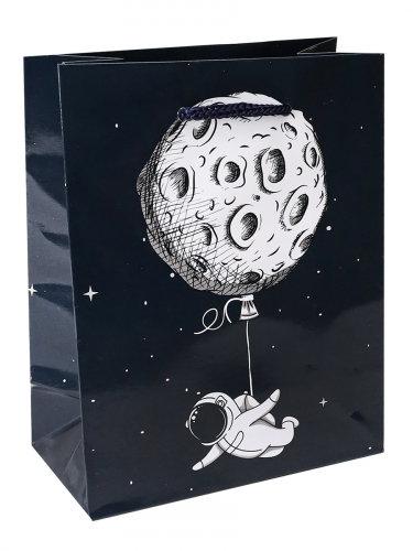 Optima Пакет подарочный с глянцевой ламинацией 26,4x32,7x8см (L) Космонавт с шар