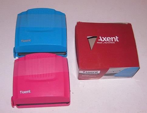 "Дырокол метал до 30л ""Shell"" верх пластик голубой/розовый/салатовый AXENT 3430-0"