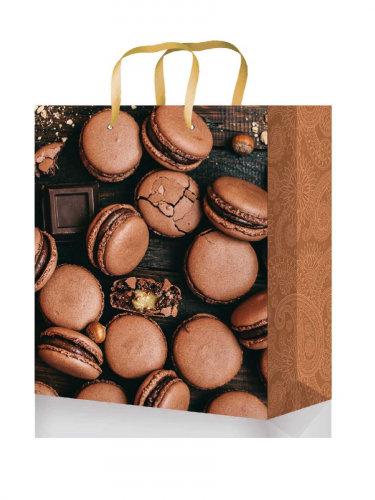 Optima Пакет подарочный с глянцевой ламинацией 18x23x8 см  (M) Шоколадные макару