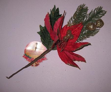 """Декор новогодний """"Цветок с елочной веткой"""" 280мм DARLENS DL-DRL01061 в кульке"""