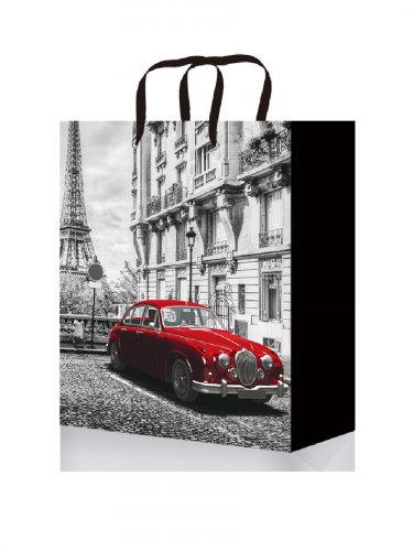 Optima Пакет подарочный с глянцевой лам. 18x23x8 см  (M) Красная машина в Париже