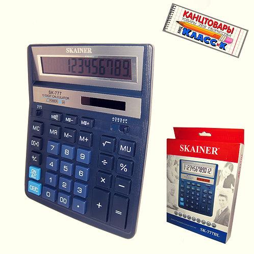 Калькулятор настольный 12разрядный 157х200х32мм СИНИЙ SKAINER SK-777BL
