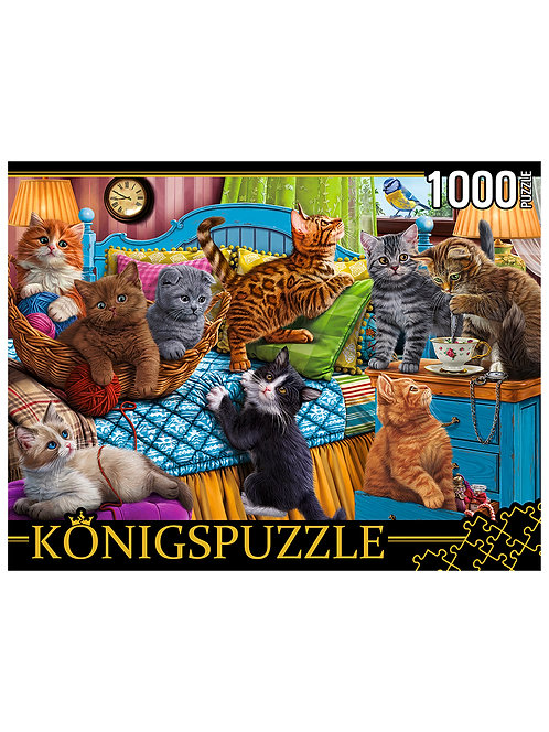 Konigspuzzle. ПАЗЛЫ 1000 элементов. ФK1000-3587 ИГРИВЫЕ КОТЯТА