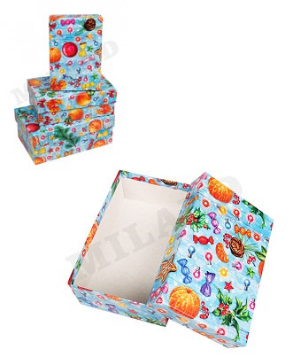 """Набор коробок подарочных 3шт """"Новый Год"""" прямоугольные 190х120х75мм/150х10"""