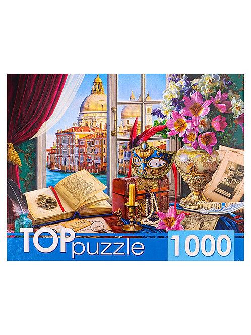 TOPpuzzle. ПАЗЛЫ 1000 элементов. ХТП1000-4148 Натюрморт с видом на Венецию