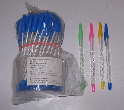 Ручка шариковая корпус прозрачный ребристый 4114 (100шт/уп)
