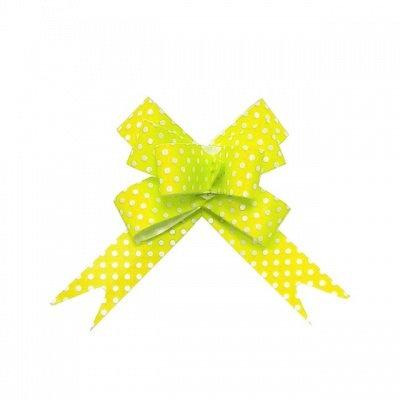 Бант-бабочка с принтом Горошек, 3 см, жёлтый БЛ-6497