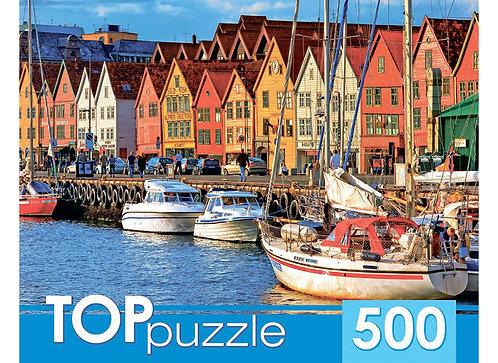 TOPpuzzle. ПАЗЛЫ 500 элементов. КБТП500-6806 Яркие домики у воды