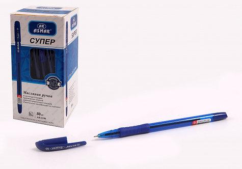 """Ручка шариковая """"Super"""" с резинкой корпус прозрачный СИНЯЯ ASMAR AR-1196/TZ4774"""