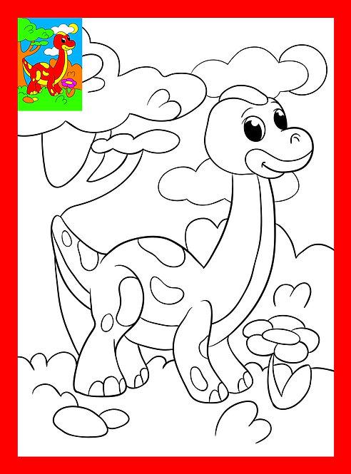 Раскраска со стразами 19х26 см. Веселый динозаврик. Арт. Р-8359