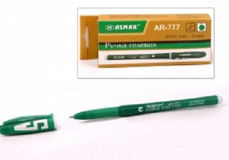 Ручка гелевая корпус зеленый с буквой ЗЕЛЕНАЯ ASMAR AR-777 (12шт)(144шт/уп)(1152