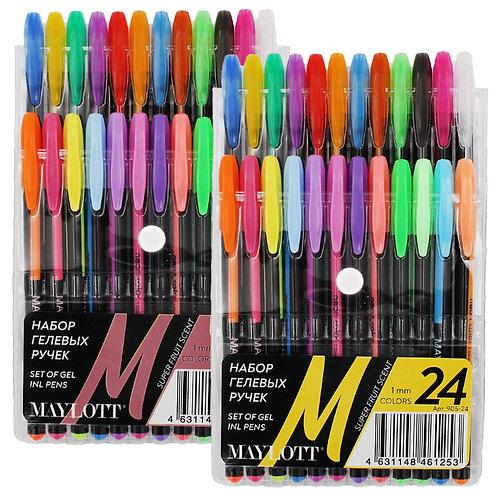 Набор гелевых ручек 24цв с блестками корпус черный 905-24 в пластиковой упаковке