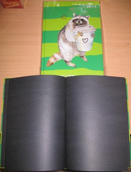 Скетчбук А5+ 80л ТВЕРДАЯ ОБЛОЖКА с рисунком ЧИСТЫЕ ЧЕРНЫЕ ЛИСТЫ UNNIKA СКФ58046