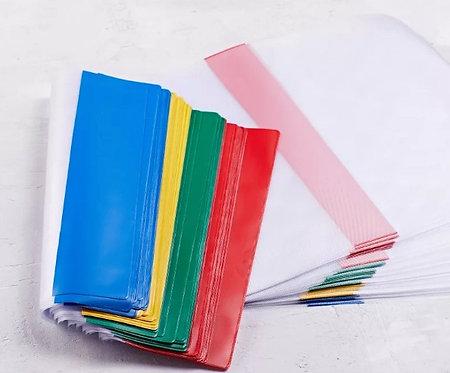 Обложка для учебника 22,6см 150мкм ПРОЗРАЧНАЯ с регулируемыми цветными краями (5