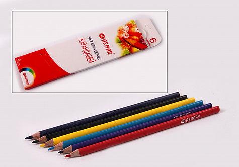 Карандаши цветные 6цв трехгранные 4М ДЕРВО супермягкие ASMAR AR-9409-6 в картонн