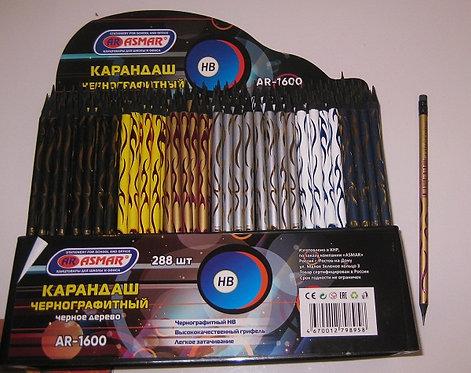 Карандаш простой с ластиком В корпус шестигранный с тиснением черное дерево ASMA