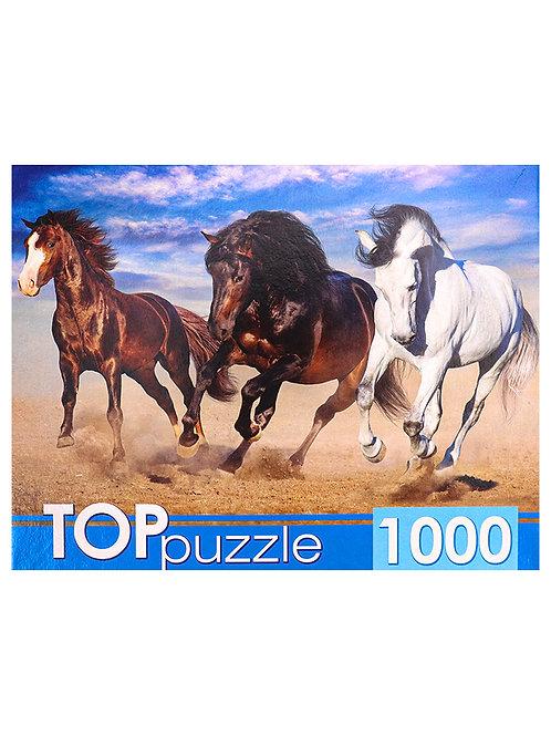 TOPpuzzle. ПАЗЛЫ 1000 элементов. ГИТП1000-4141 Тройка диких лошадей