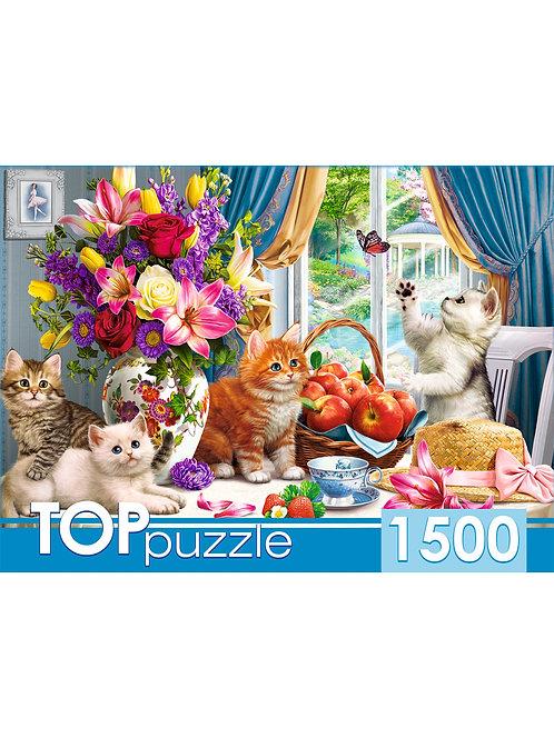 TOPpuzzle. ПАЗЛЫ 1500 элементов. ХТП1500-1590 Милые котята в гостиной