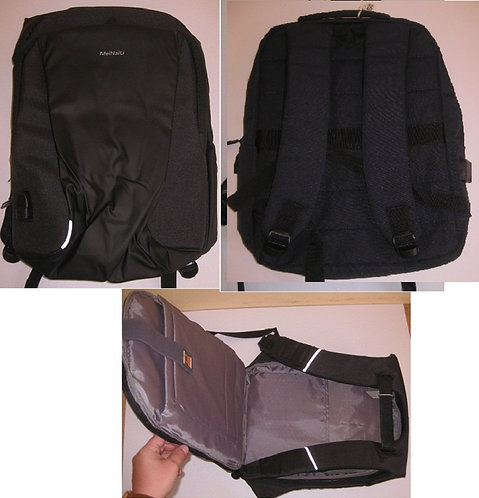 Рюкзак подростковый ТКАНЬ с USB непромокающий черный 470х300х130мм 12045