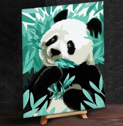 """Картина по номерам с дополнительными элементами """"Панда в листьях"""", 30х40 см"""