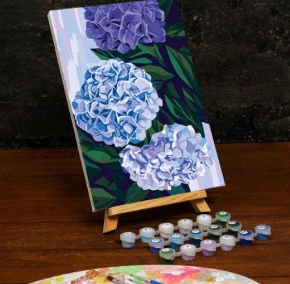 Картина по номерам на холсте с подрамником «Гортензии» 20×30 см